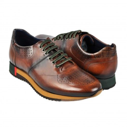 Brown leather sports shoes with green laces Zerimar - 1
