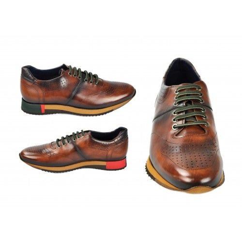 Brown leather sports shoes with green laces Zerimar - 2