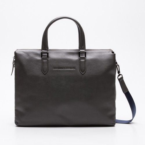 Leather grey briefcase for laptop Zerimar - 1