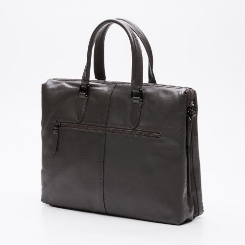 Leather grey briefcase for laptop Zerimar - 2