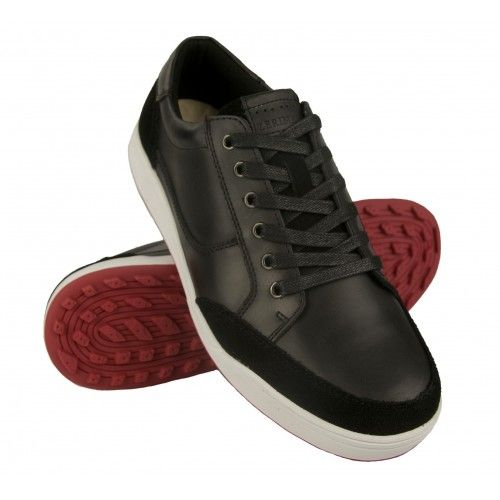 Leather golf shoes with laces and velvet texture Airel - 1