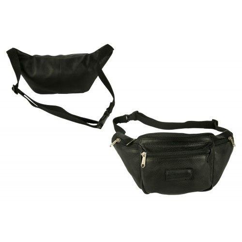 Leather waist bag with...