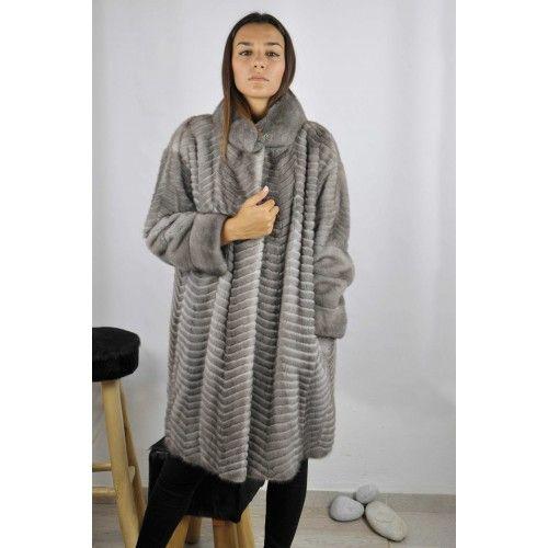 Long striped mink coat Zerimar - 1
