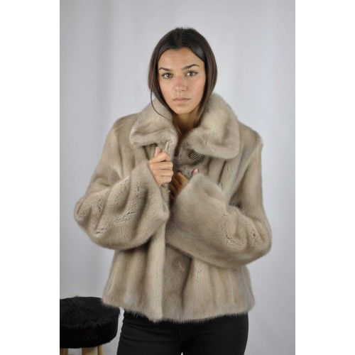 Short gray mink jacket with classic collar Zerimar - 2