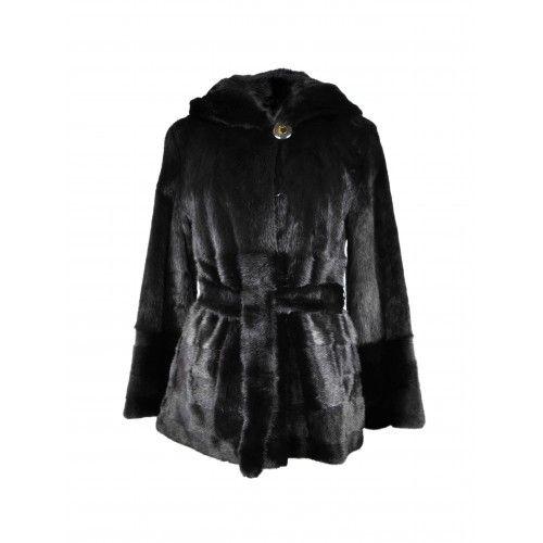 Black mink jacket with belt and hood Zerimar - 1