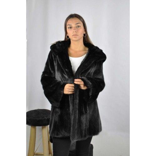 Black mink jacket with belt and hood Zerimar - 2