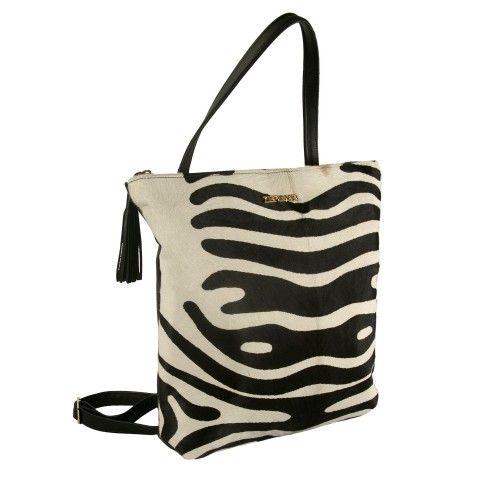 Handmade leather backpack with zebra print Zerimar - 1