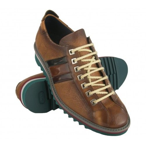 Leather sneakers shoe with laces and flag Zerimar - 1
