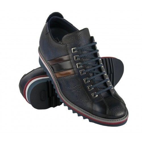 Leather sneakers with 7 cm internal rise with flag Zerimar - 1