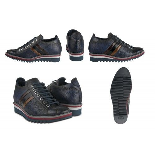 Leather sneakers with 7 cm internal rise with flag Zerimar - 2