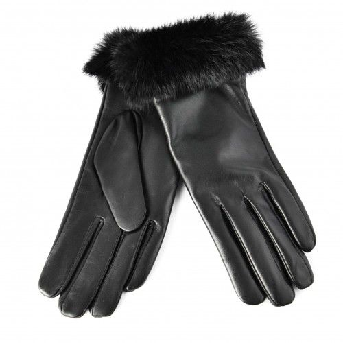 Women's leather gloves with fur band Zerimar - 2