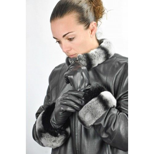 Women's leather gloves with fur band Zerimar - 1