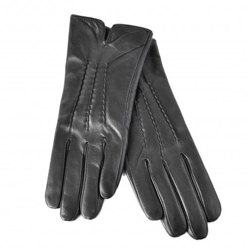 Classic black leather gloves for women Zerimar - 2