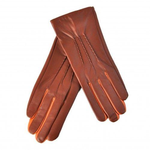 Brown leather gloves with orange detail Zerimar - 1