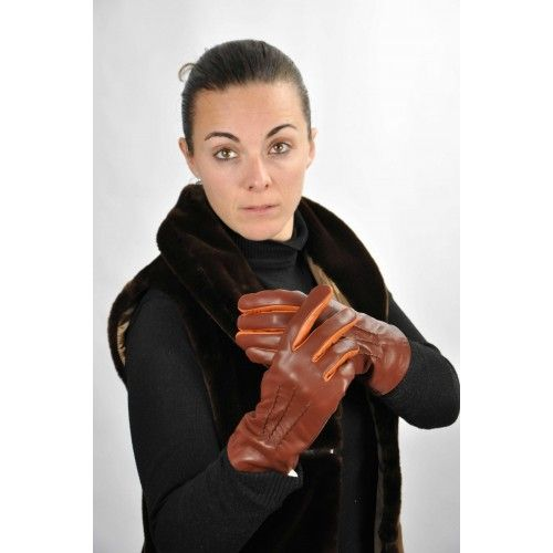 Brown leather gloves with orange detail Zerimar - 2