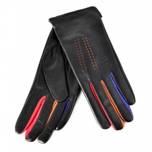 Black leather gloves with color detail Zerimar - 2