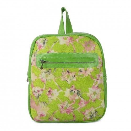 Leather backpack with flowers and zip closure Zerimar - 1
