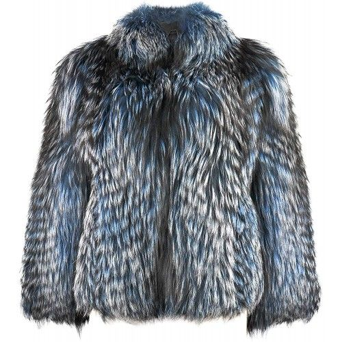Fox Fur Jacket with Elegant...