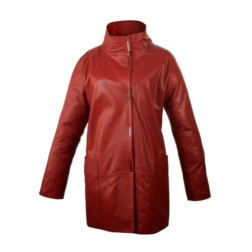 Long leather coat with pockets, classic collar and button closure Zerimar - 2