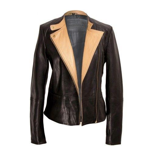 Leather jacket with beige collar and zip closure Zerimar - 2
