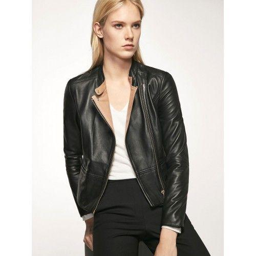 Leather jacket with beige collar and zip closure Zerimar - 1