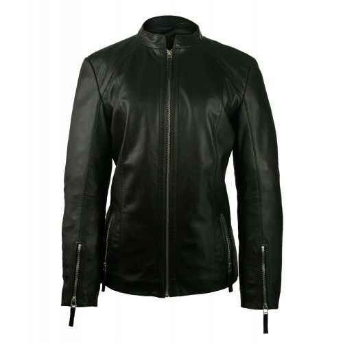 Women's leather jacket with zippers Zerimar - 1