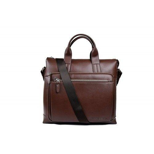 Leather shoulder bag 37x35x9 cm Zerimar - 1
