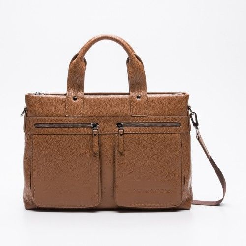 Design Leather briefcase with front pockets and zip closure Zerimar - 1