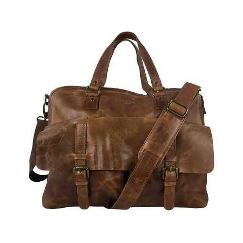 Vintage style leather briefcase with pockets and zipper 34x40x12 cm Zerimar - 1