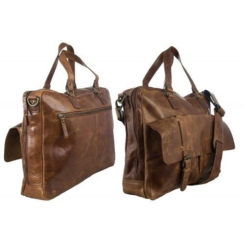 Vintage style leather briefcase with pockets and zipper 34x40x12 cm Zerimar - 2