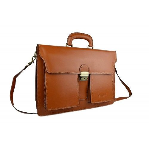 Leather briefcase with three interior compartments 40x30x15 cm Zerimar - 12