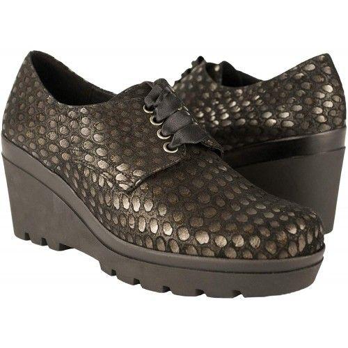 Leather Wedge Heel Shoes -...