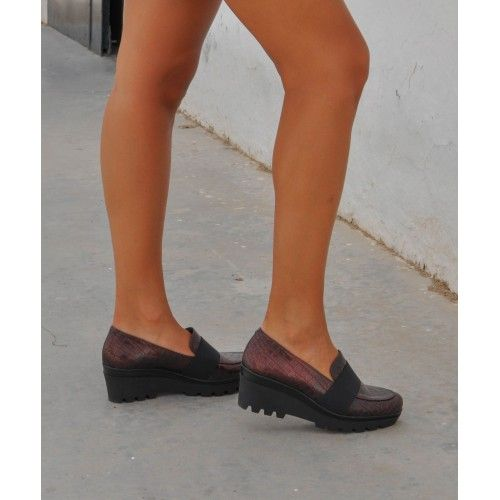 Leather Wedge Heel Shoes...