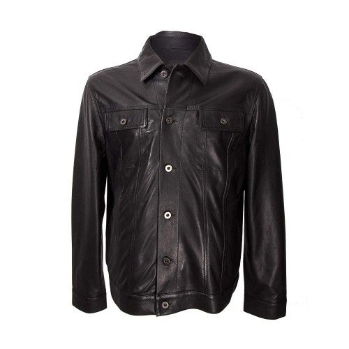Black vintage style leather jacket with buttoned closure Zerimar - 1