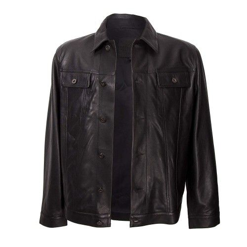 Black vintage style leather jacket with buttoned closure Zerimar - 2