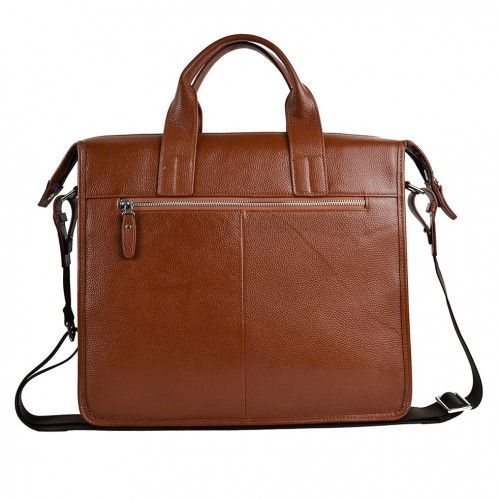 Leather briefcase with handle and pockets 37x32x11 cm Zerimar - 2