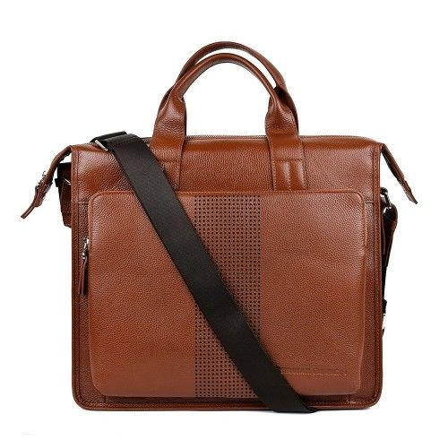 Leather briefcase with handle and pockets 37x32x11 cm Zerimar - 1