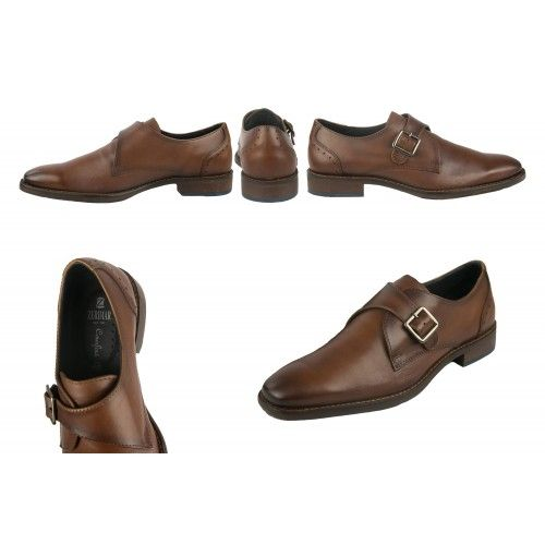 Leather classic shoes with buckle closure Zerimar - 2
