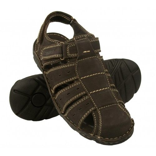 Closed leather sandals with velcro closure for men Zerimar - 1