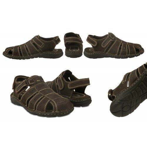 Closed leather sandals with velcro closure for men Zerimar - 2