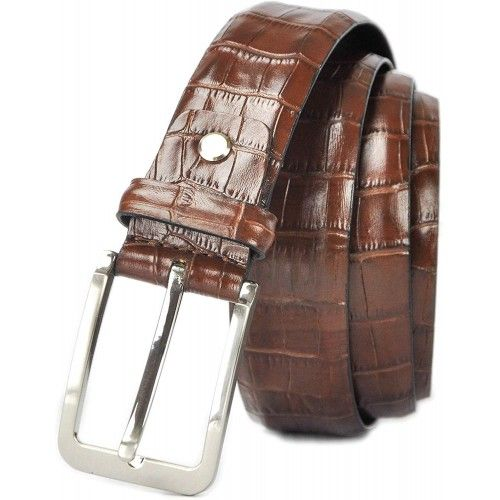 Engraved Leather Belt in Elegant Style with 1,37 in wide Zerimar - 1