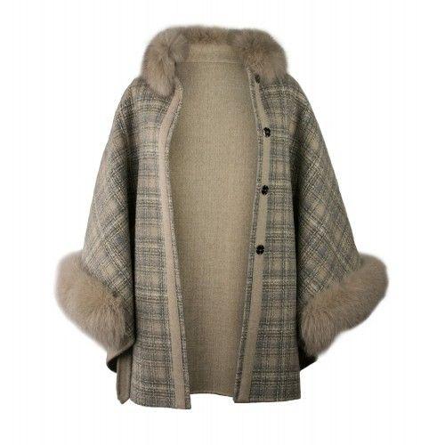 Fox collar cape with belt
