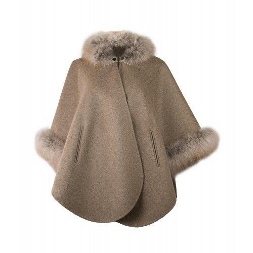 Brown-beige fox collar coat