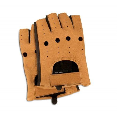 Fingerless leather gloves...