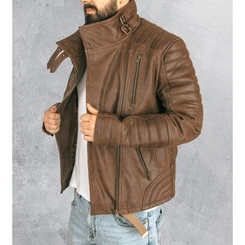 Leather aviator jacket with...