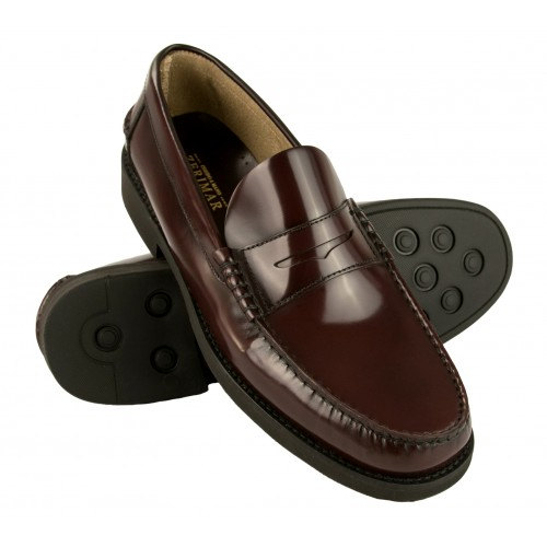 Burgundy natural leather loafers with PLUS size mask Zerimar - 1