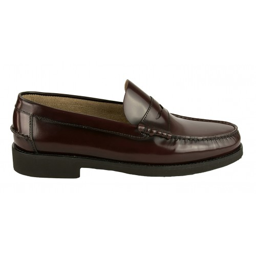 Burgundy natural leather loafers with PLUS size mask Zerimar - 2