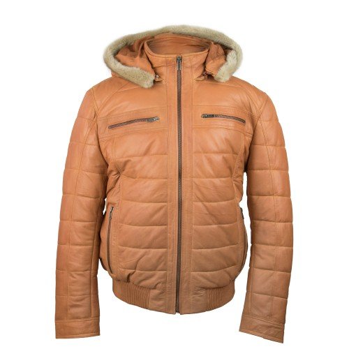 Leather anorak jacket with hood and zip closure Zerimar - 2