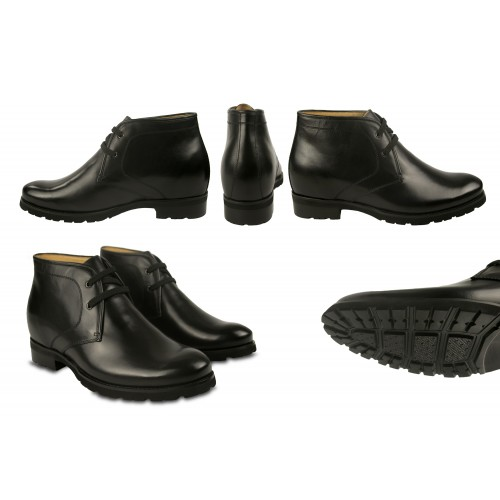 Leather Boots for Men with Height Internal Increase 2,9 in Zerimar - 2