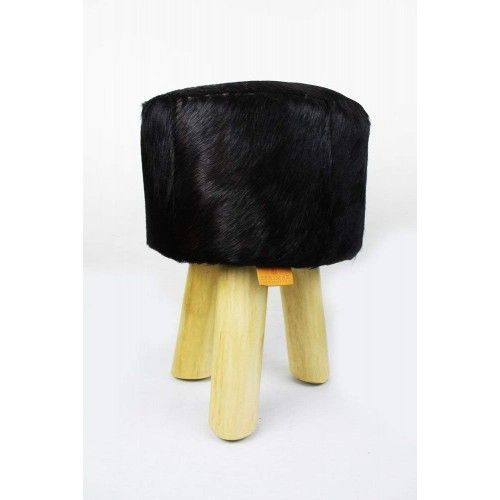 Pack of two Goat hide Wood Stools  - 11x11x17 in B Zerimar - 2